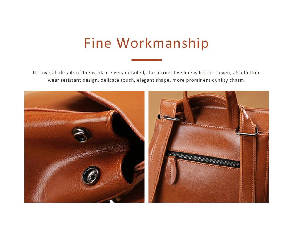 Retro Waxing Double Layer Cowhide Rucksack Shoulder Bag Women Fashion Accessories Elegant Large Capacity Travel Bag 3