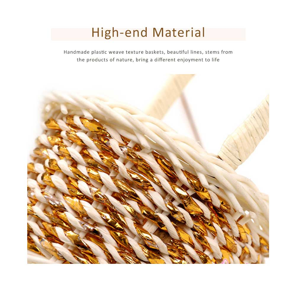 Portable Rattan Weaving Basket for Storage, Wedding as Decoration Tool, Multiple Styles DIY Handmade Flower Arrangement Basket 3