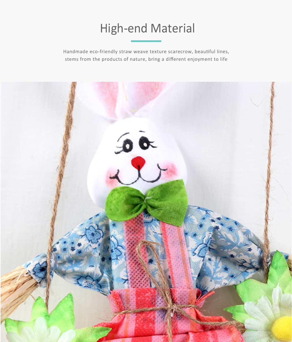 Easter Double Rabbits Scarecrow for Kindergarten Children, Creative DIY Handmade Scarecrow. 4