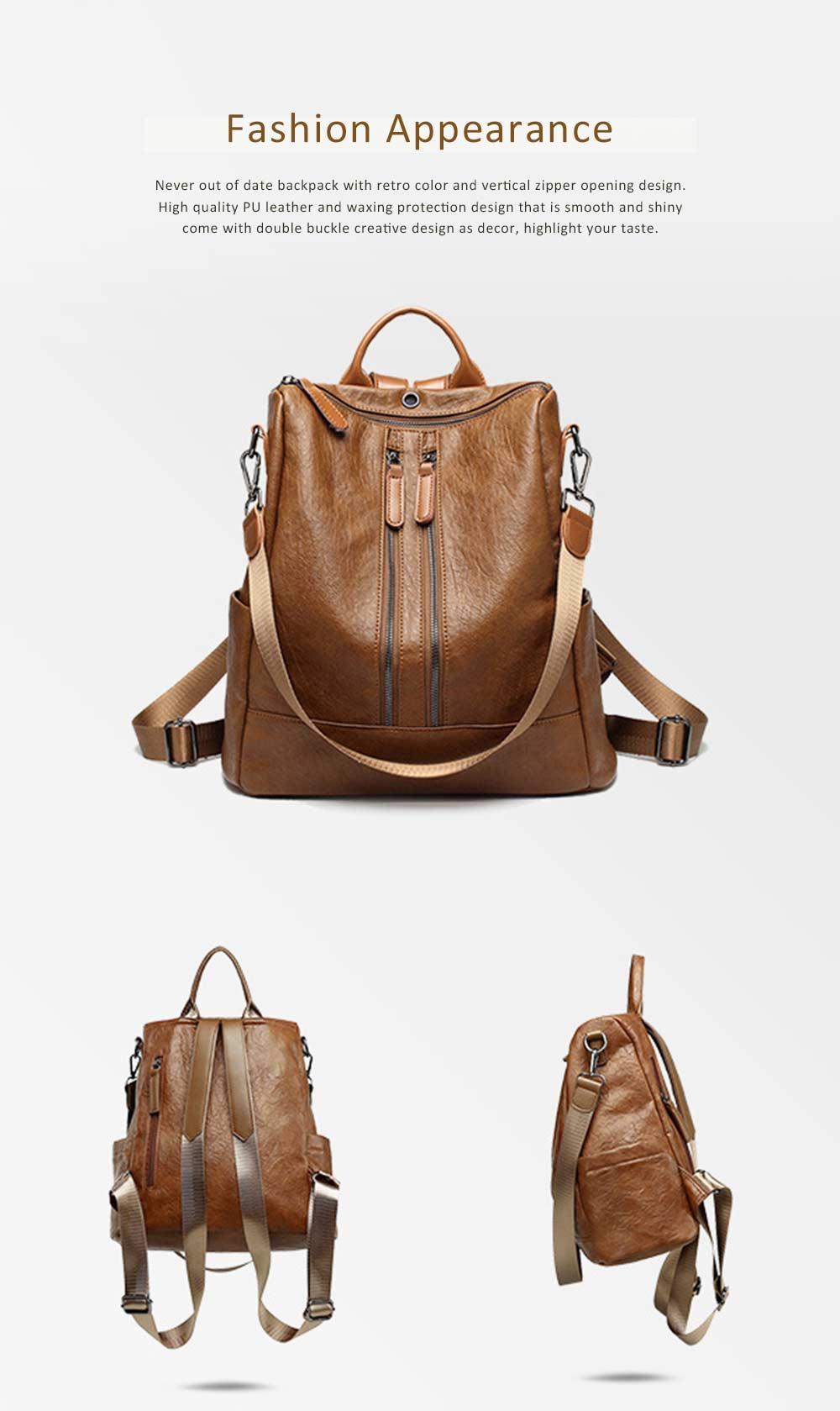 Casual Brown Backpack & Shoulder Bag, Vintage Style Multiple Pockets Large Bag for Travel, School 2