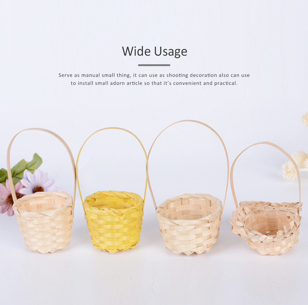 Mini Bamboo Woven Rattan Weaving Basket for Storage, Wedding as Decoration Tool and Shoot Decoration, DIY Handmade Flower Arrangement Basket 4
