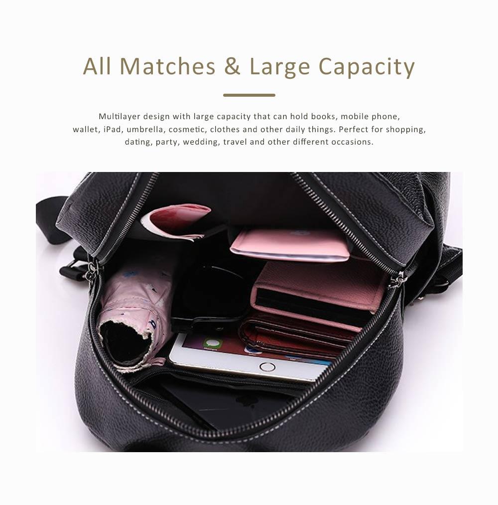 Magnetic Elegant Girl Travel Backpack, Fashion Plaid Casual PU Leather Rucksack Shoulder Bag 3