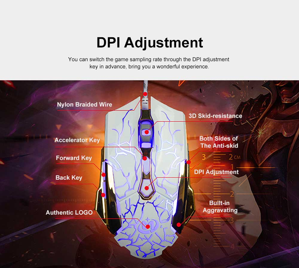 Wired Mouse DPI Adjustment with LED Lighting Metal Base for Game Mouse 1