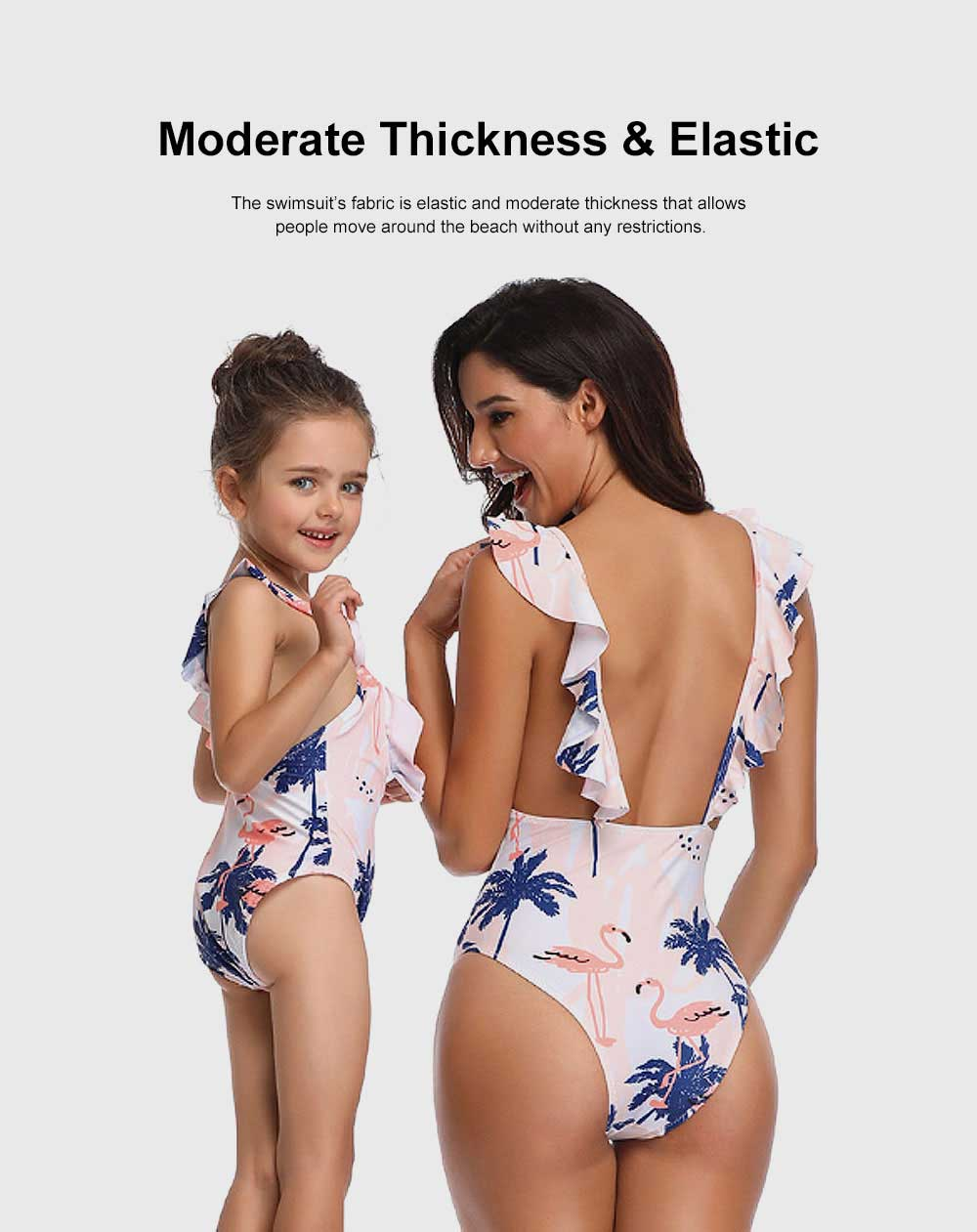 Mother Daughter Matching Swimwear Summer Bikini, One-piece Polyester Swimsuit Elastic Bathing Suit for Swimming 5