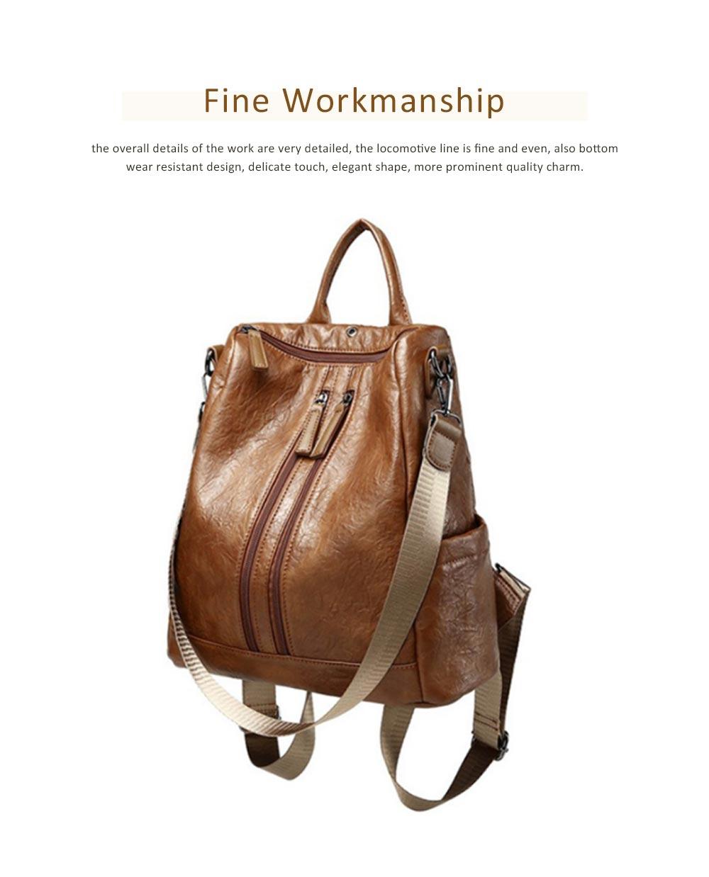 Casual Brown Backpack & Shoulder Bag, Vintage Style Multiple Pockets Large Bag for Travel, School 3