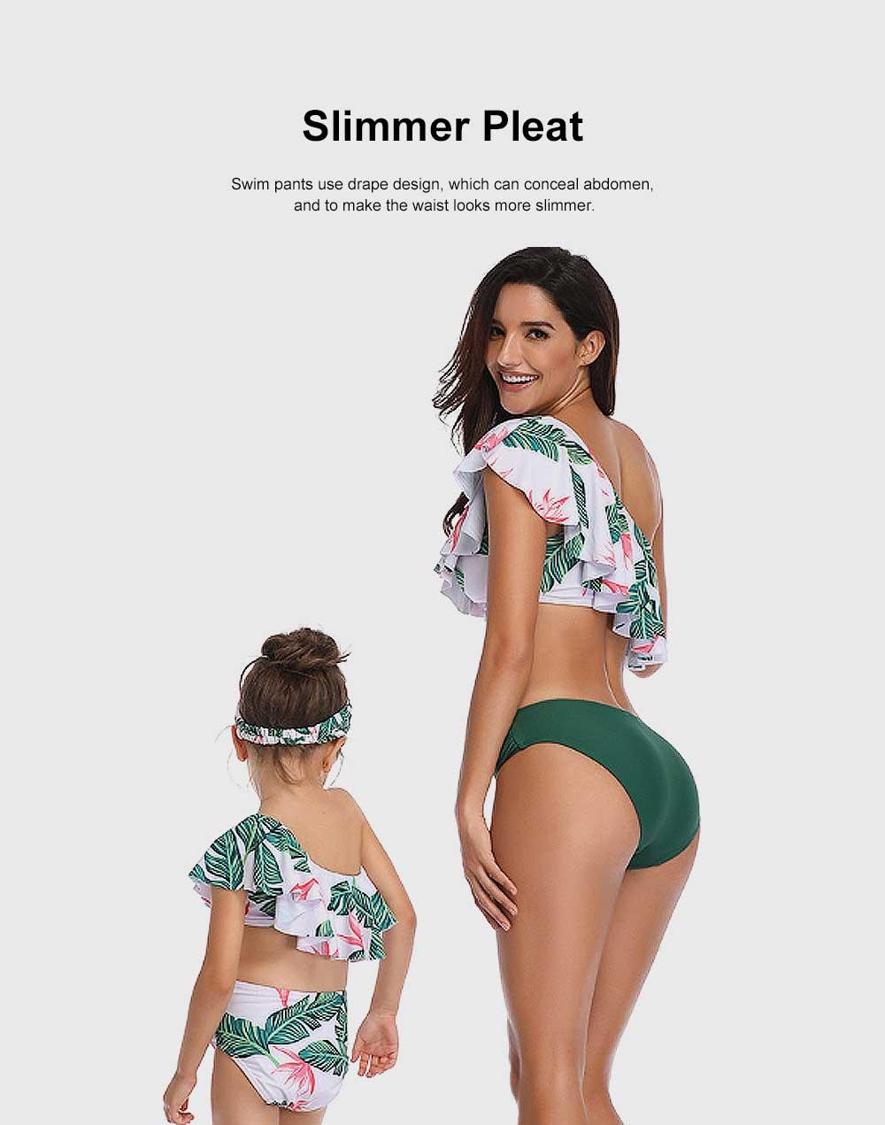 Family Matching Swimsuit Parent-child Polyester Soft Swimwear Pleat Two Piece Swimwear 5
