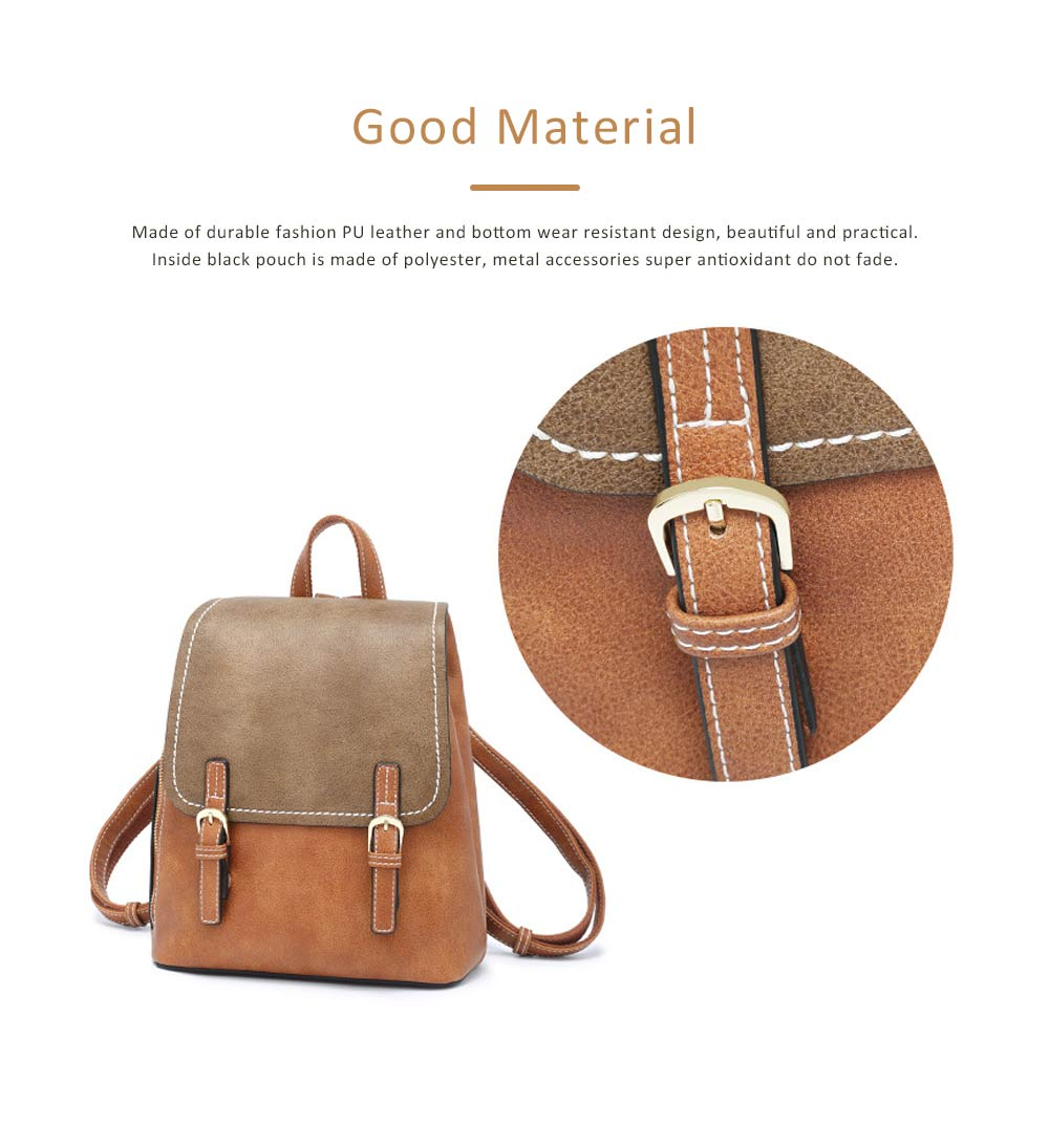 Vintage Casual Magnetic Travel Backpack, Elegant Girl PU Leather Rucksack Shoulder Bag 1