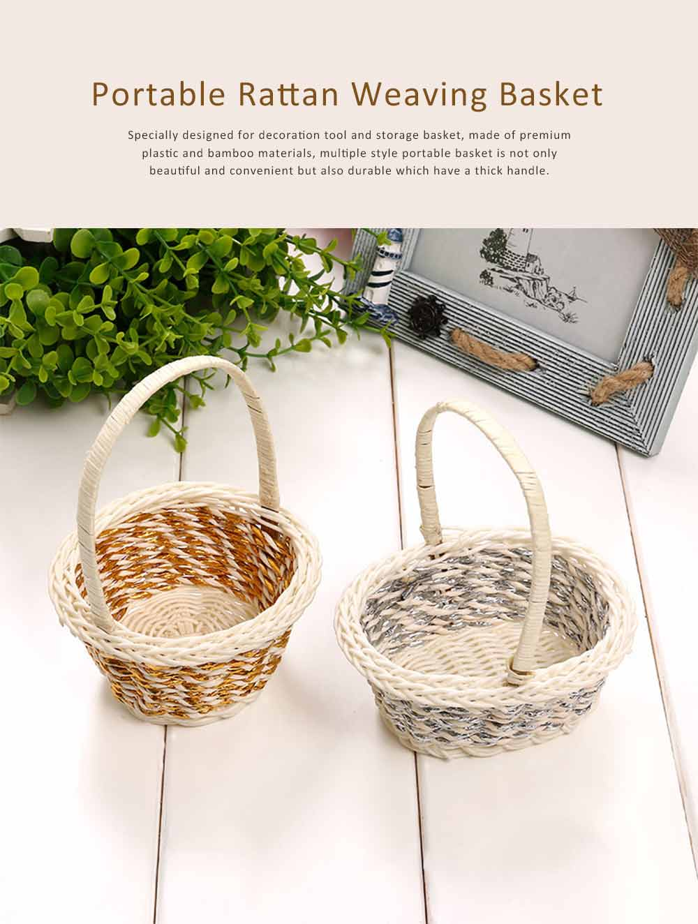 Portable Rattan Weaving Basket for Storage, Wedding as Decoration Tool, Multiple Styles DIY Handmade Flower Arrangement Basket 0