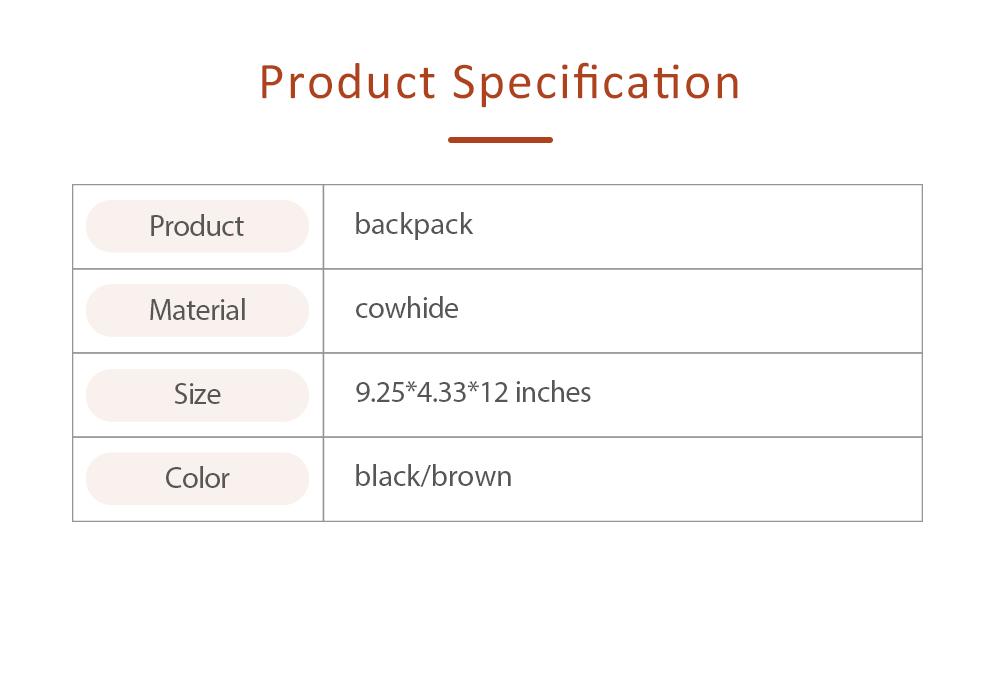 Retro Waxing Double Layer Cowhide Rucksack Shoulder Bag Women Fashion Accessories Elegant Large Capacity Travel Bag 6