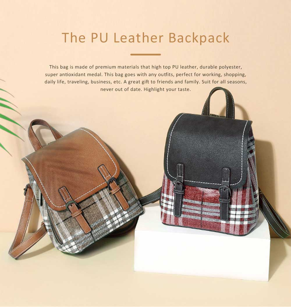 Vintage Casual Magnetic Travel Backpack, Elegant Girl PU Leather Rucksack Shoulder Bag 0