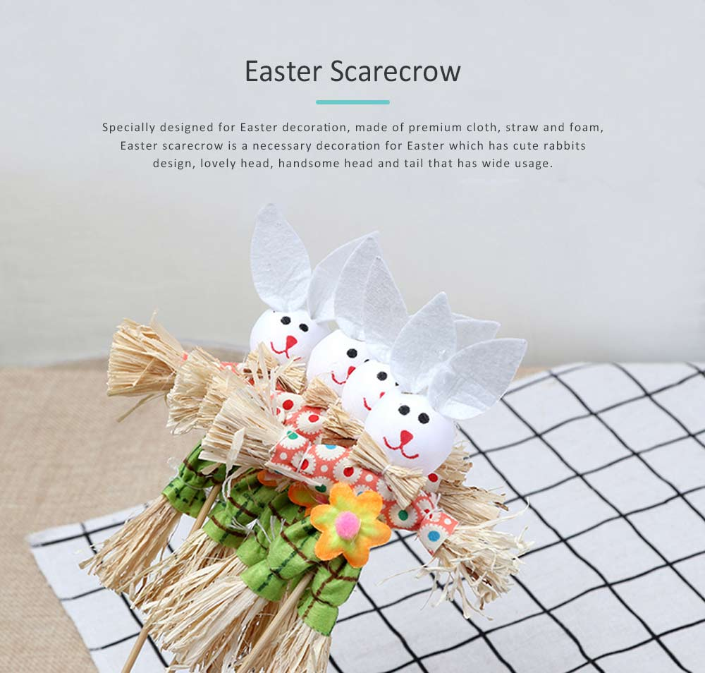Easter Scarecrow with Cloth Rabbits Design for Kindergarten Children, Creative DIY Handmade Scarecrow Home Decor 0