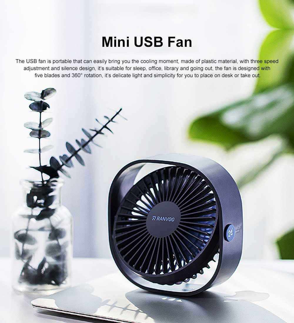 Mini Fan USB Chargeable for Hot Day Silence Outside Office Desk Portable 360° Rotation Fan 0