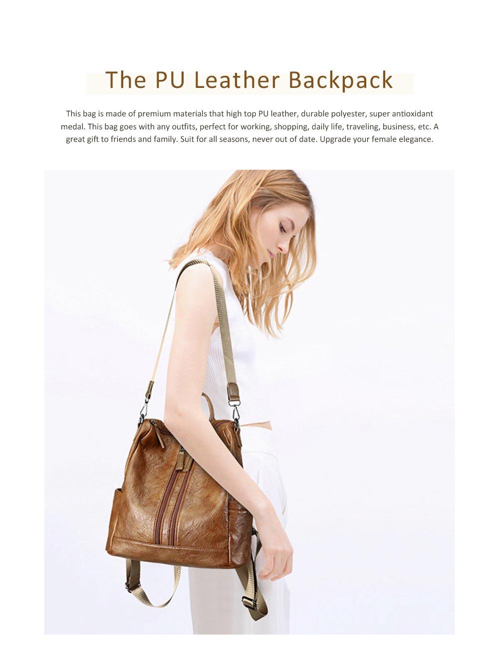 Casual Brown Backpack & Shoulder Bag, Vintage Style Multiple Pockets Large Bag for Travel, School 0