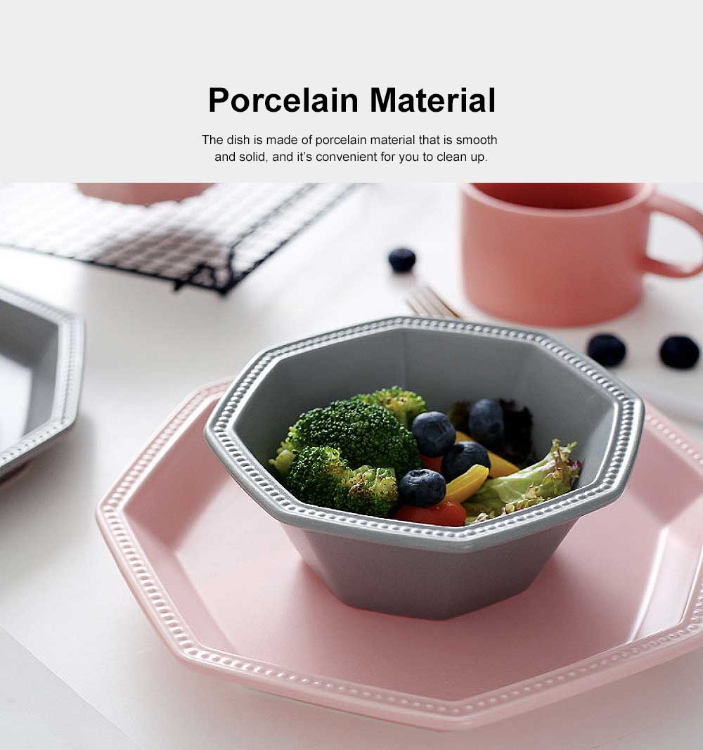 Geometrical Dish Porcelain Material Tray for Home Hotel Foods Hollow-ware Elegant Plate 3