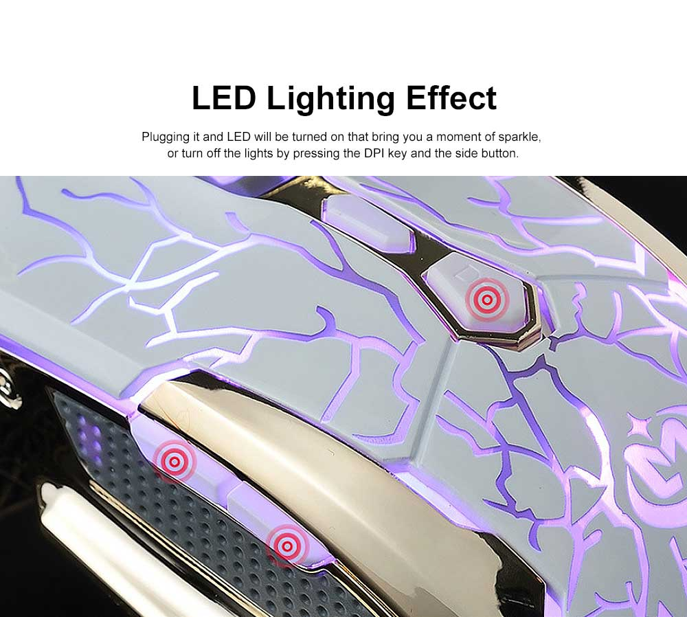 Wired Mouse DPI Adjustment with LED Lighting Metal Base for Game Mouse 2