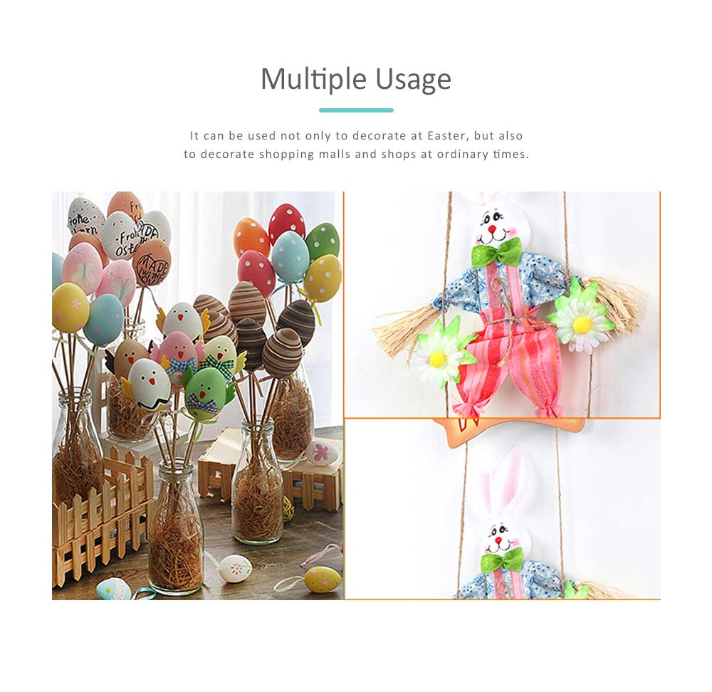 Easter Double Rabbits Scarecrow for Kindergarten Children, Creative DIY Handmade Scarecrow. 3