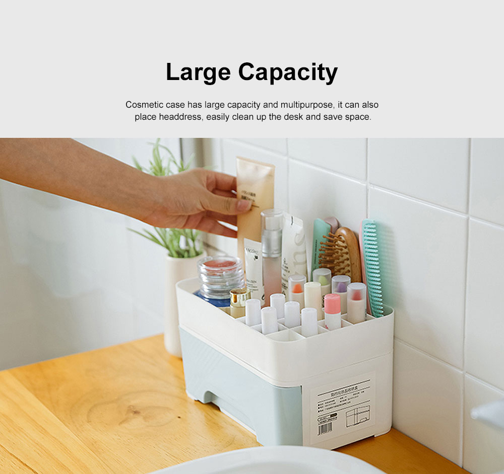 Cosmetic Case PP Powder Box Dressing Container Large Capacity Storage Makeup Box with Drawer Vanity Case 1