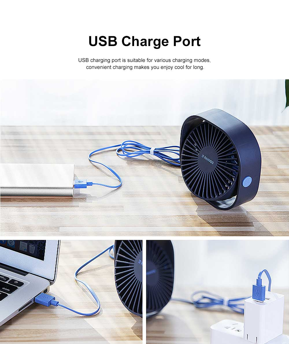 Mini Fan USB Chargeable for Hot Day Silence Outside Office Desk Portable 360° Rotation Fan 4