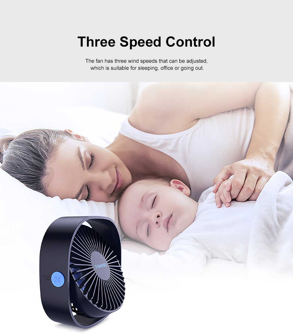 Mini Fan USB Chargeable for Hot Day Silence Outside Office Desk Portable 360° Rotation Fan 3