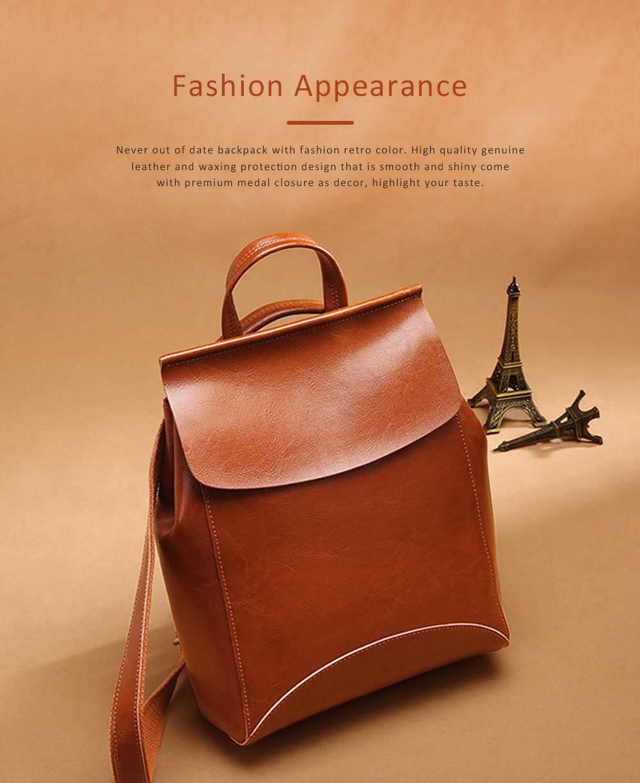 Retro Waxing Double Layer Cowhide Rucksack Shoulder Bag Women Fashion Accessories Elegant Large Capacity Travel Bag 2