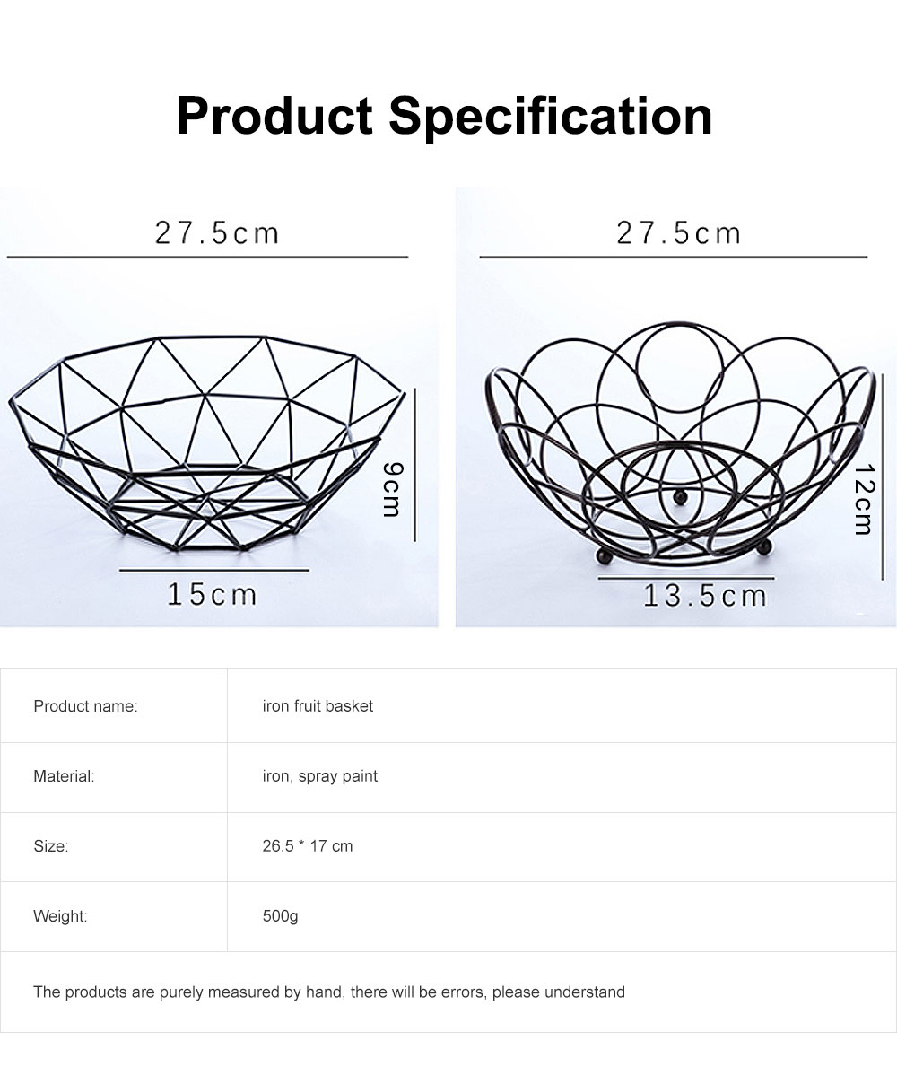 Iron Fruit Basket For Home Store Fruits Tray Line Design Bowl Simple Style Fruit Plate 6