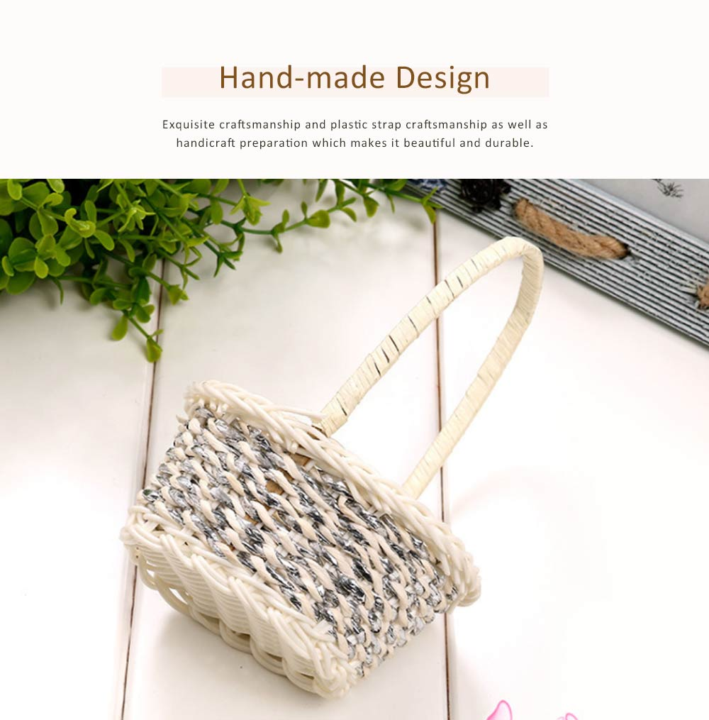 Portable Rattan Weaving Basket for Storage, Wedding as Decoration Tool, Multiple Styles DIY Handmade Flower Arrangement Basket 2