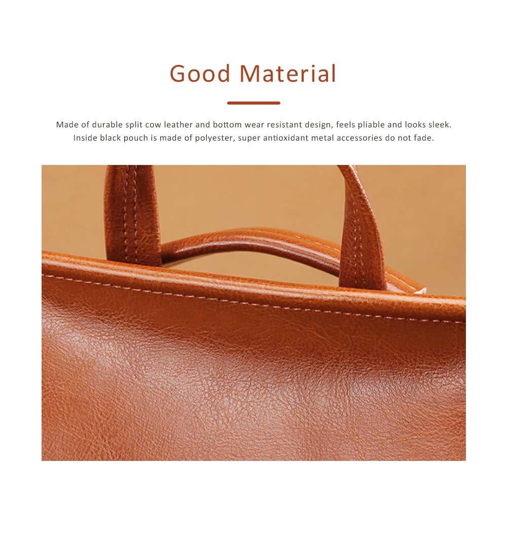 Retro Waxing Double Layer Cowhide Rucksack Shoulder Bag Women Fashion Accessories Elegant Large Capacity Travel Bag 1