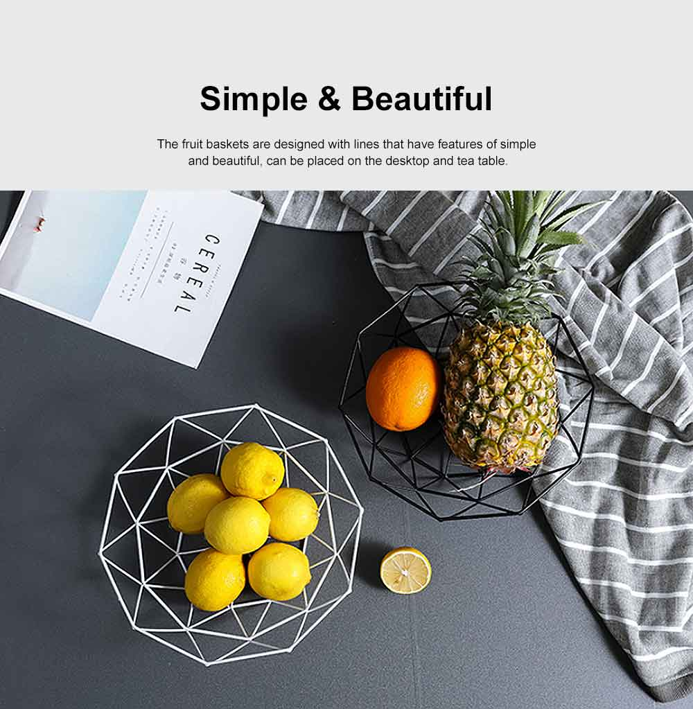 Iron Fruit Basket For Home Store Fruits Tray Line Design Bowl Simple Style Fruit Plate 5