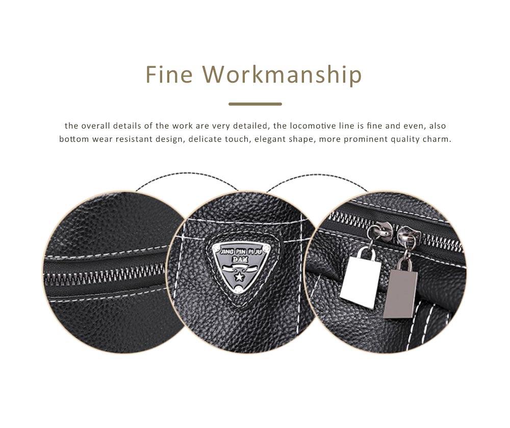 Magnetic Elegant Girl Travel Backpack, Fashion Plaid Casual PU Leather Rucksack Shoulder Bag 4