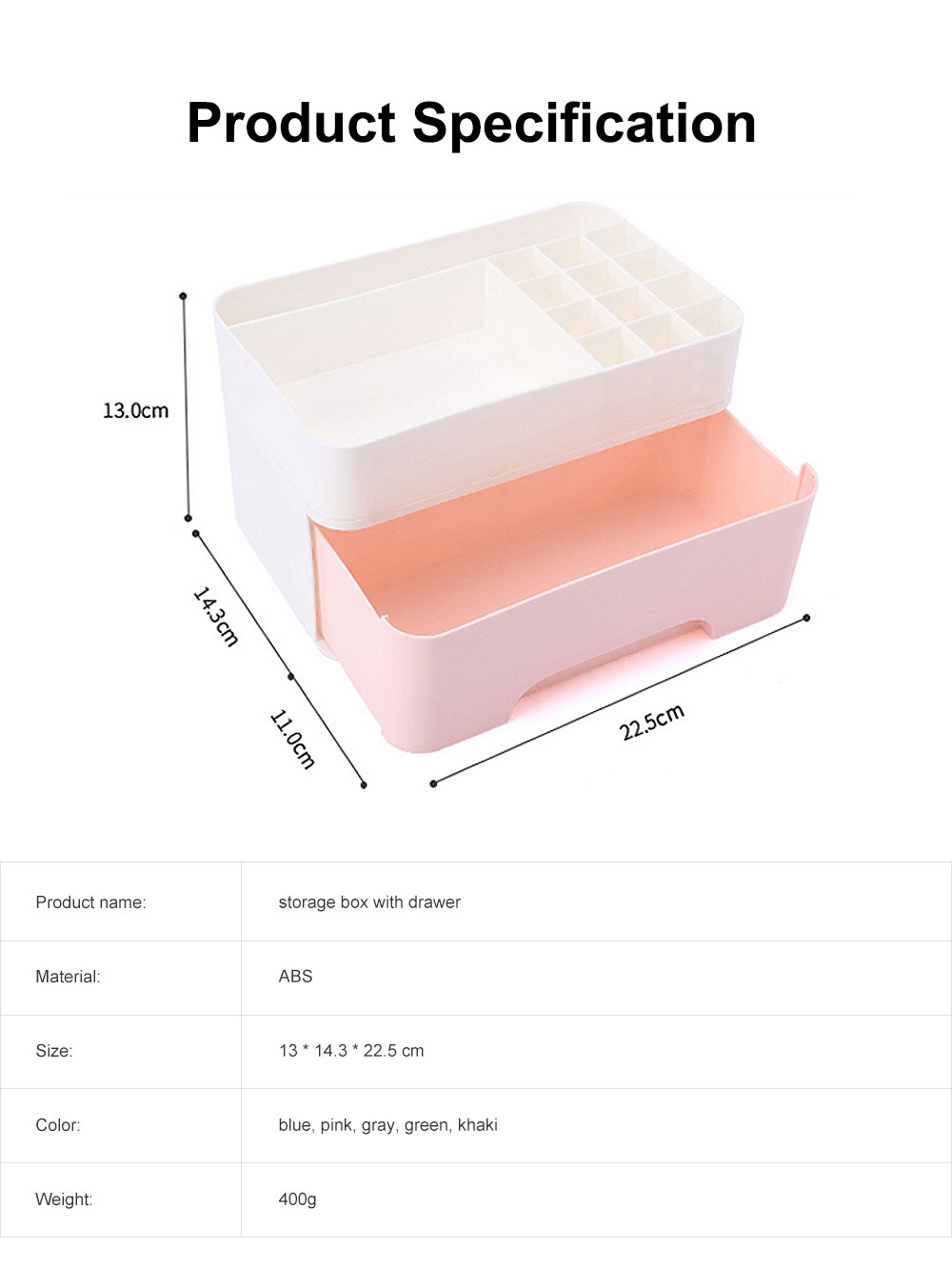 Cosmetic Case PP Powder Box Dressing Container Large Capacity Storage Makeup Box with Drawer Vanity Case 6