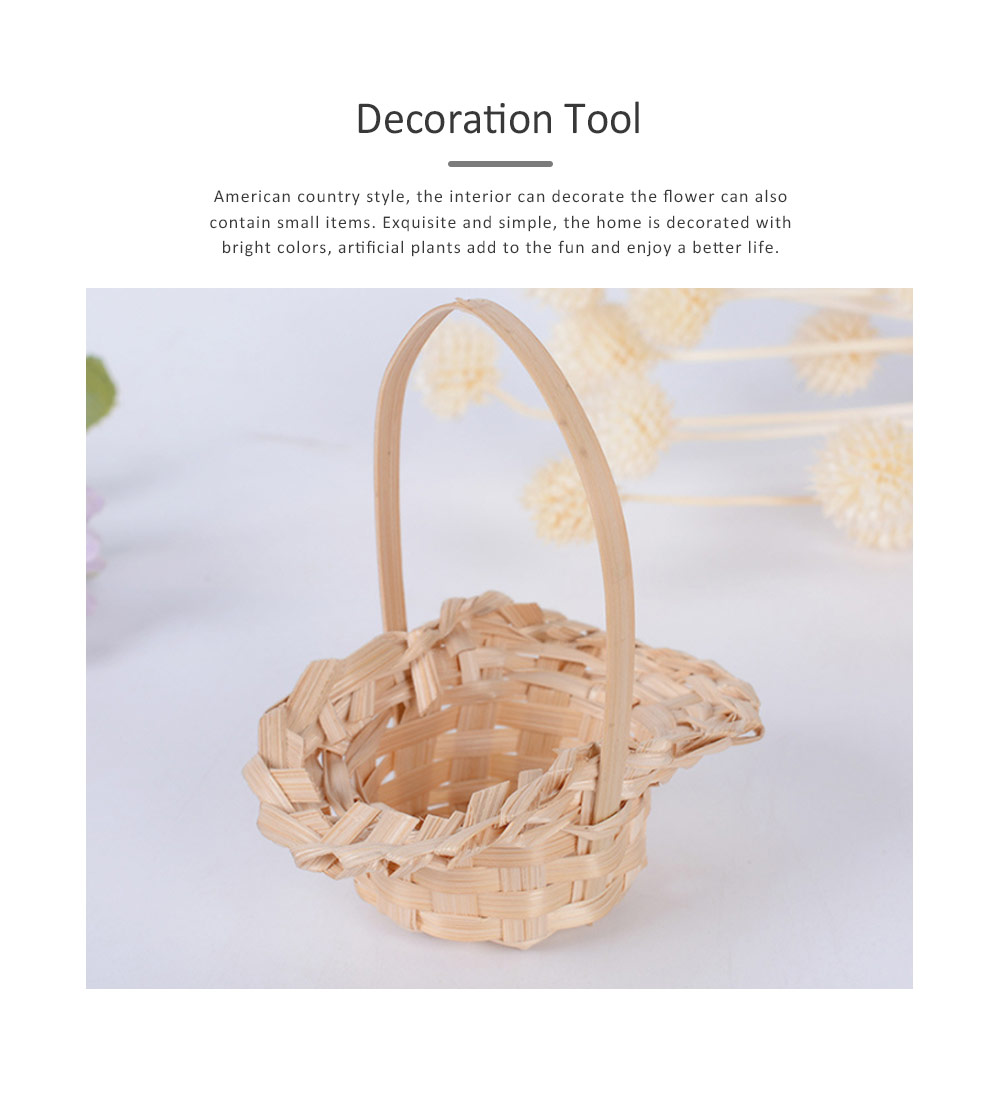 Mini Bamboo Woven Rattan Weaving Basket for Storage, Wedding as Decoration Tool and Shoot Decoration, DIY Handmade Flower Arrangement Basket 5