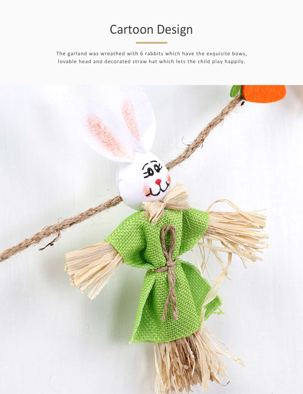 Easter Scarecrow Wreath with 6 Rabbits Design for Kindergarten Children, Creative DIY Handmade Wreath 4