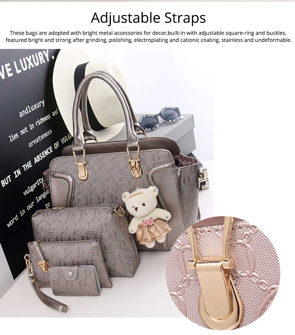 Elegant Women Accessories Ellipse Chain PU Leather Lady Tote Bag Sets 4PCS 3