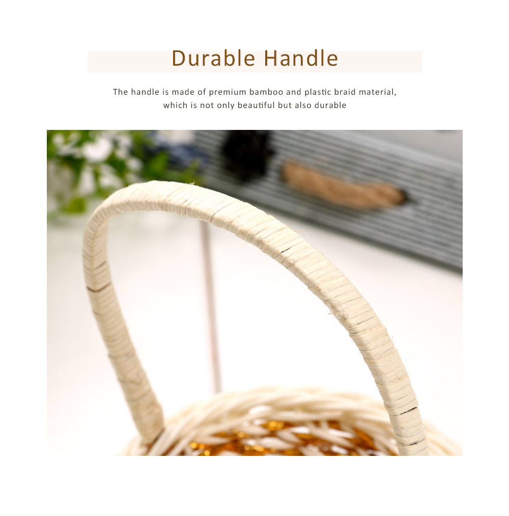 Portable Rattan Weaving Basket for Storage, Wedding as Decoration Tool, Multiple Styles DIY Handmade Flower Arrangement Basket 1