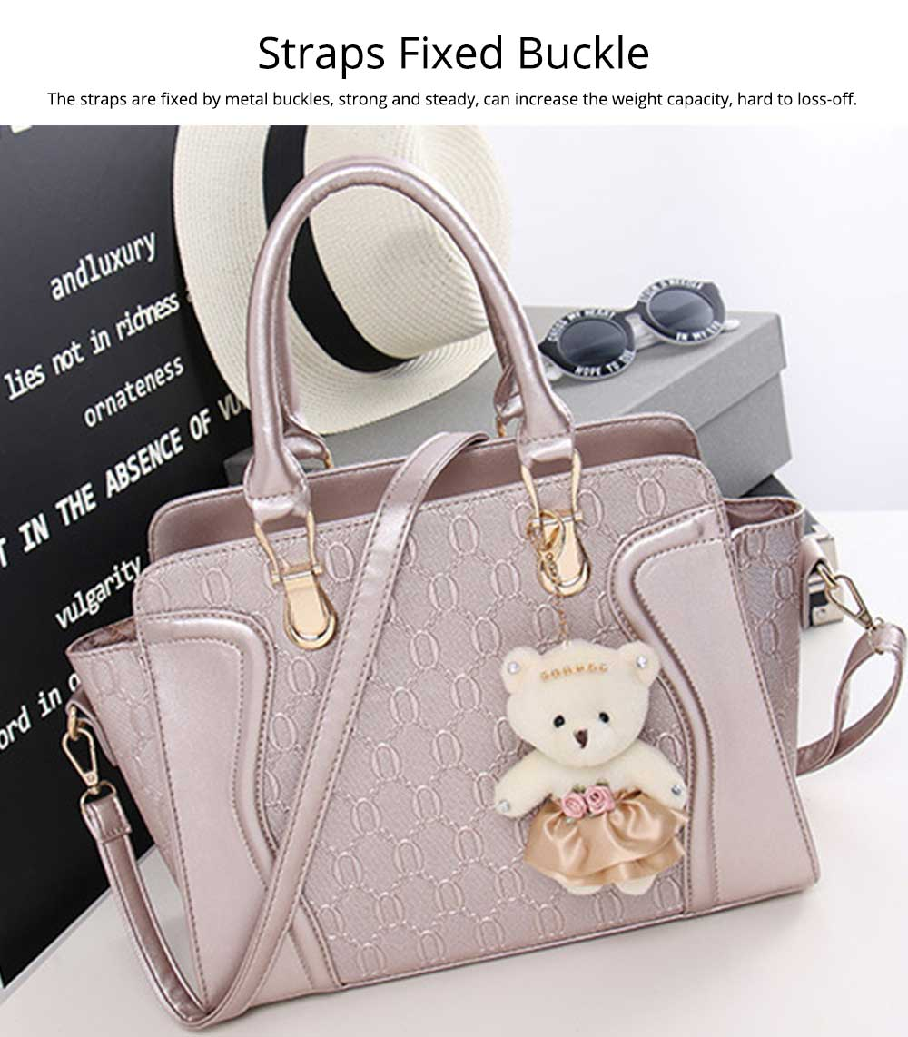 Elegant Women Accessories Ellipse Chain PU Leather Lady Tote Bag Sets 4PCS 4