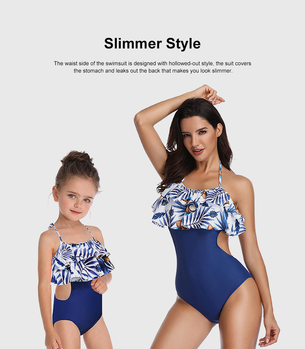 Double Flange Swim Dress Soft One-piece Swimsuit with Strap Off Shoulder Bathing Suit for Mother-girl 3