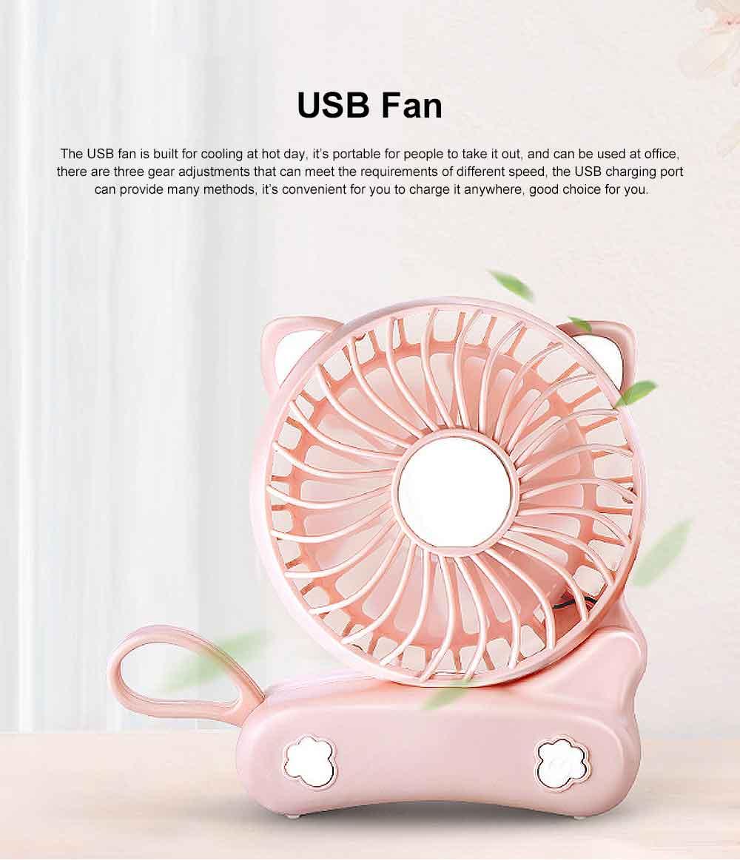 USB Fan Chargeable for Summer Day Kitty Shape Silence Portable Mini Fan 0