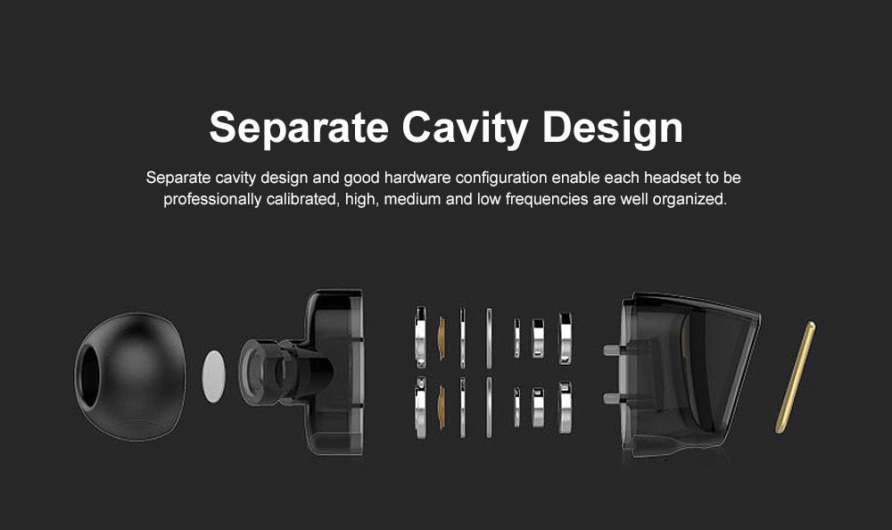 Wire Earphone Anti-pulling Wire Headset Comfortable Wearing HIFI Effect Earpiece Double Dynamic Earplug 2
