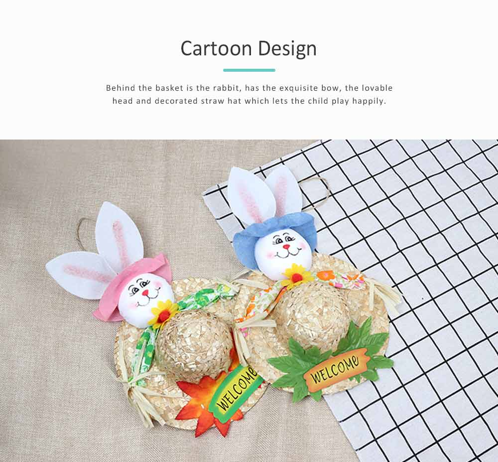 Straw Woven Bunny Hat Rattan Weaving Hat, DIY Handmade Bunny Hats for Easter Day Kids Children  4