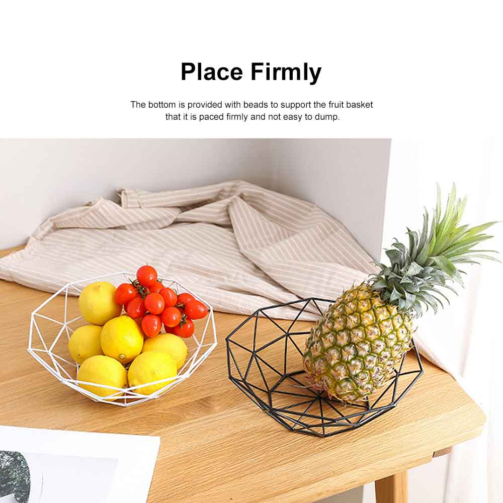 Iron Fruit Basket For Home Store Fruits Tray Line Design Bowl Simple Style Fruit Plate 2