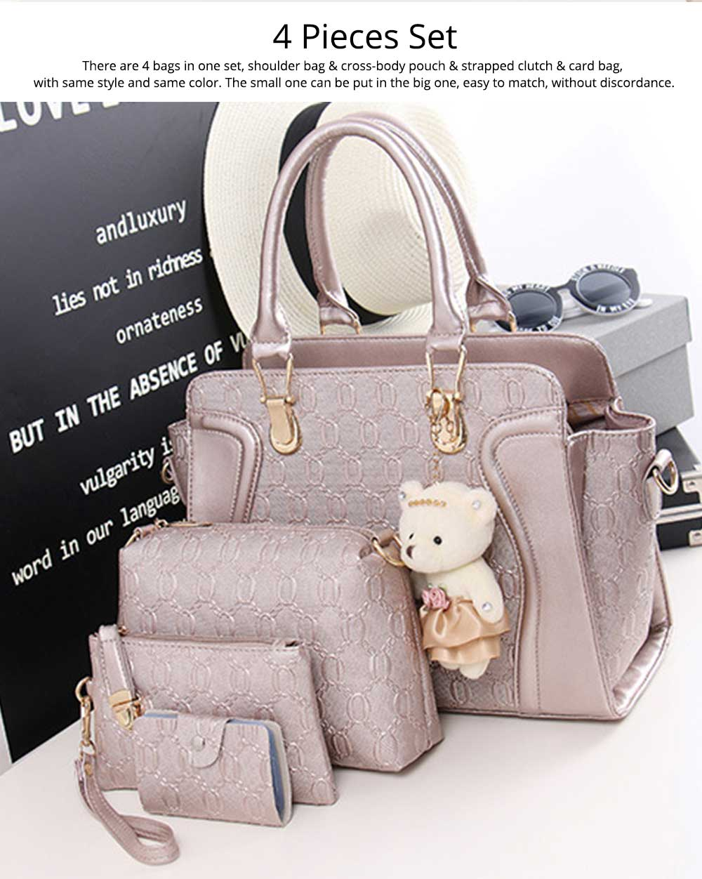 Elegant Women Accessories Ellipse Chain PU Leather Lady Tote Bag Sets 4PCS 1