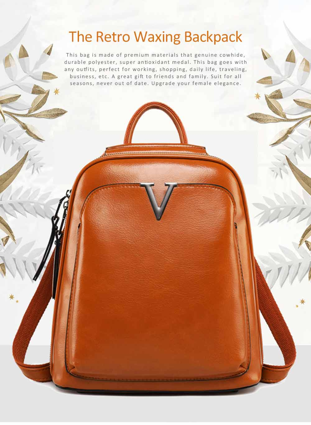 Retro Oil Wax Genuine Leather Women Backpack Shoulder Bags for Teenagers Girls School Daypack Large Capacity Travel Bag 0