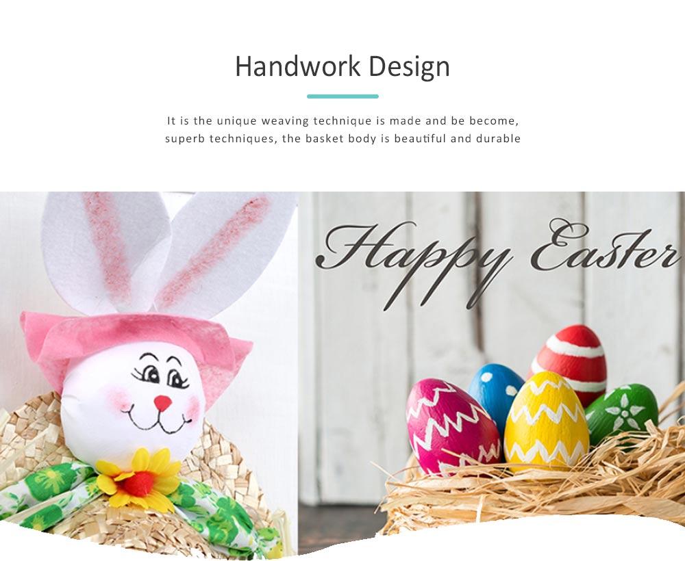 Straw Woven Bunny Hat Rattan Weaving Hat, DIY Handmade Bunny Hats for Easter Day Kids Children  1
