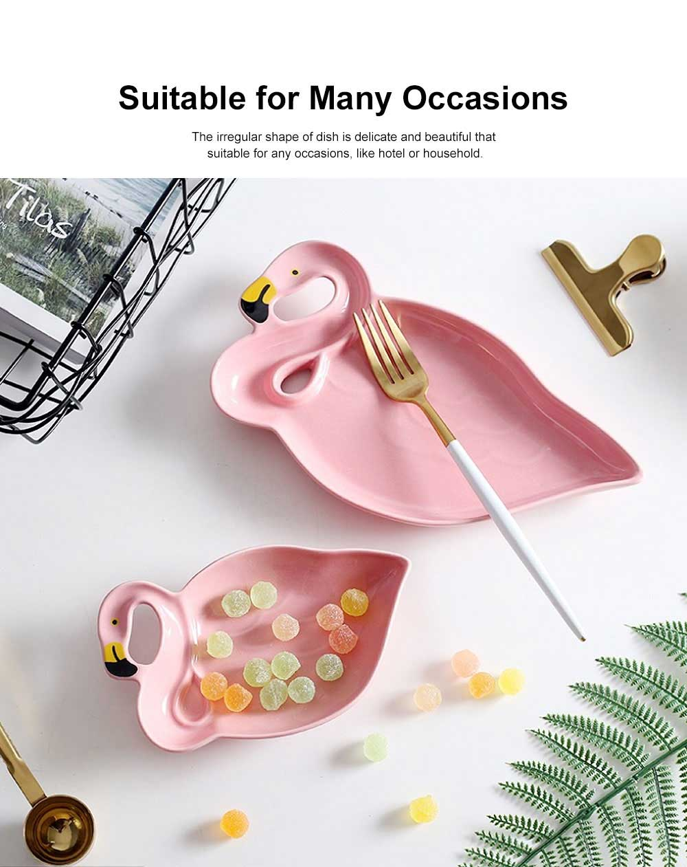 Porcelain Plate Flamingo Shape Hollow-ware for Rice Snacks Elegant Tray Irregular Dish 3