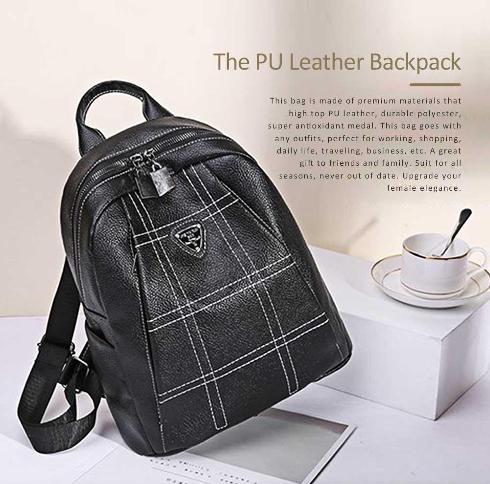 Magnetic Elegant Girl Travel Backpack, Fashion Plaid Casual PU Leather Rucksack Shoulder Bag 0
