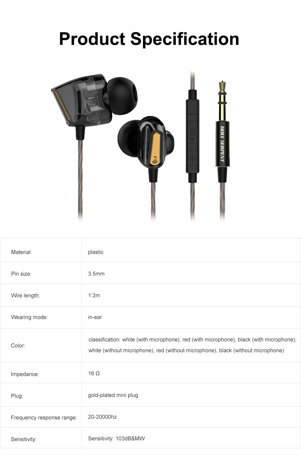 Wire Earphone Anti-pulling Wire Headset Comfortable Wearing HIFI Effect Earpiece Double Dynamic Earplug 7