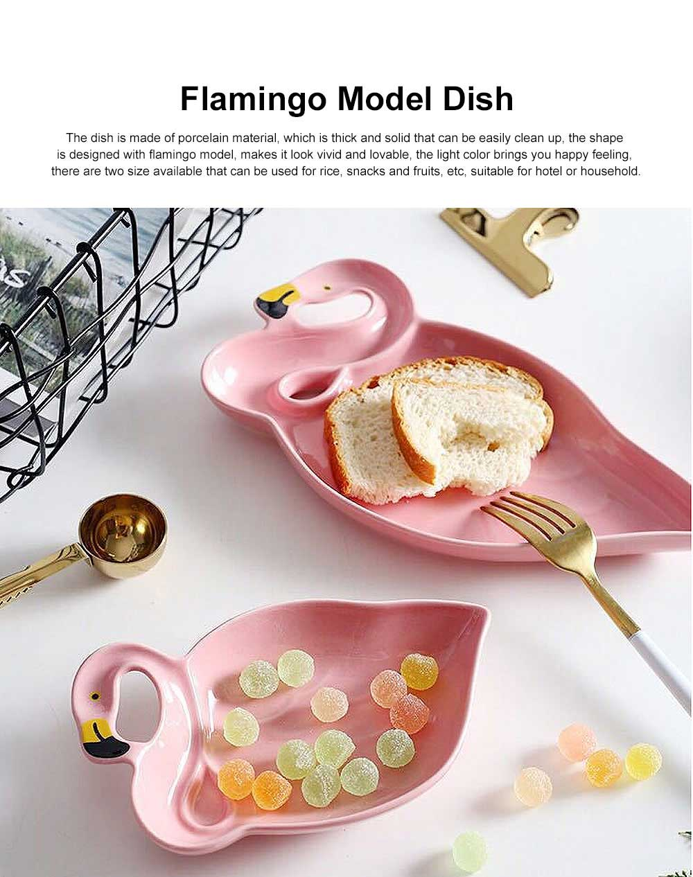 Porcelain Plate Flamingo Shape Hollow-ware for Rice Snacks Elegant Tray Irregular Dish 0
