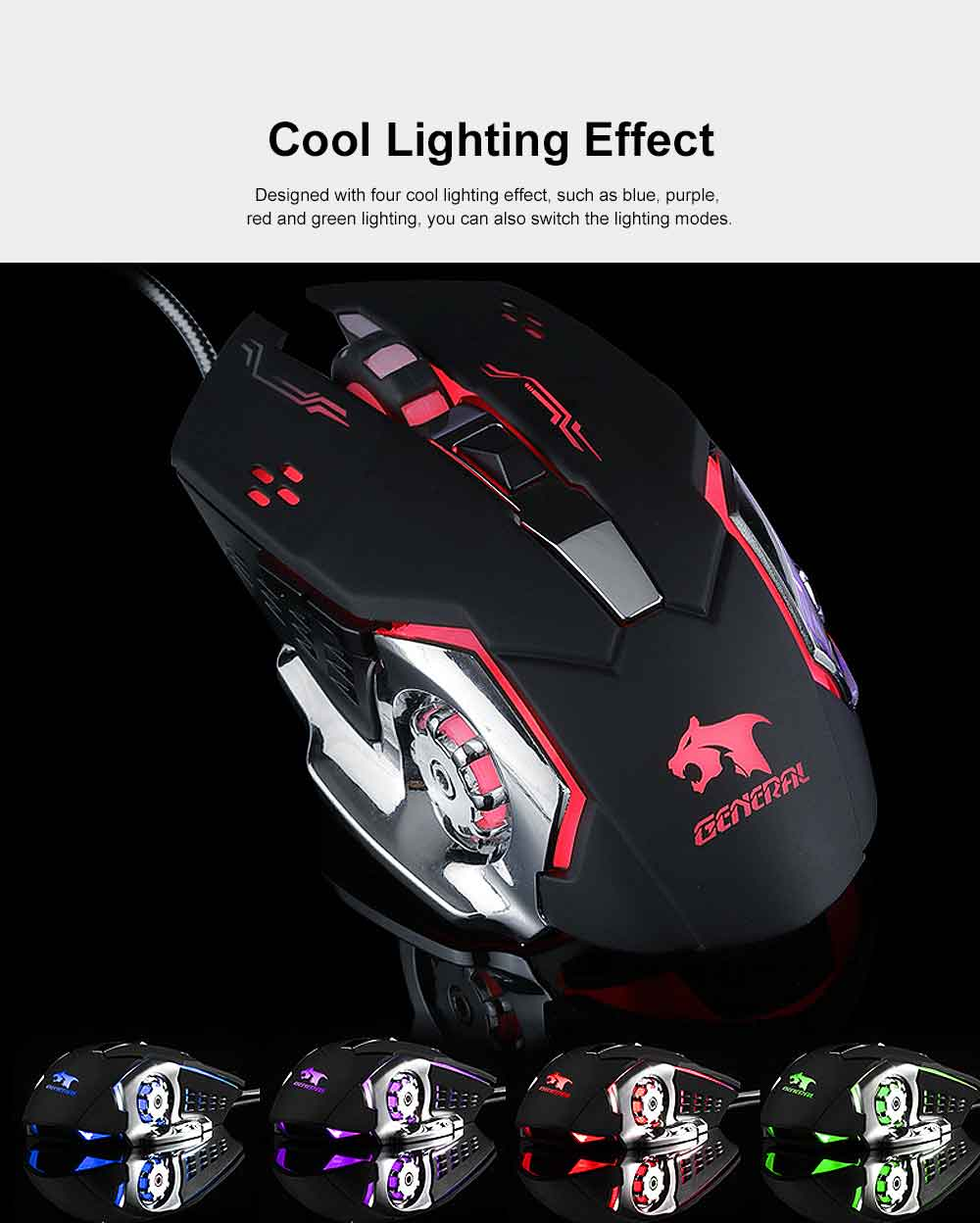 Four DPI Adjustment Mouse with LED for Game Play Computer Case High-performance Wired Mouse 3