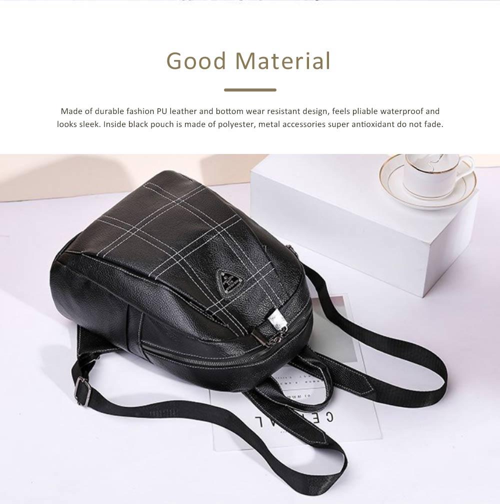 Magnetic Elegant Girl Travel Backpack, Fashion Plaid Casual PU Leather Rucksack Shoulder Bag 1