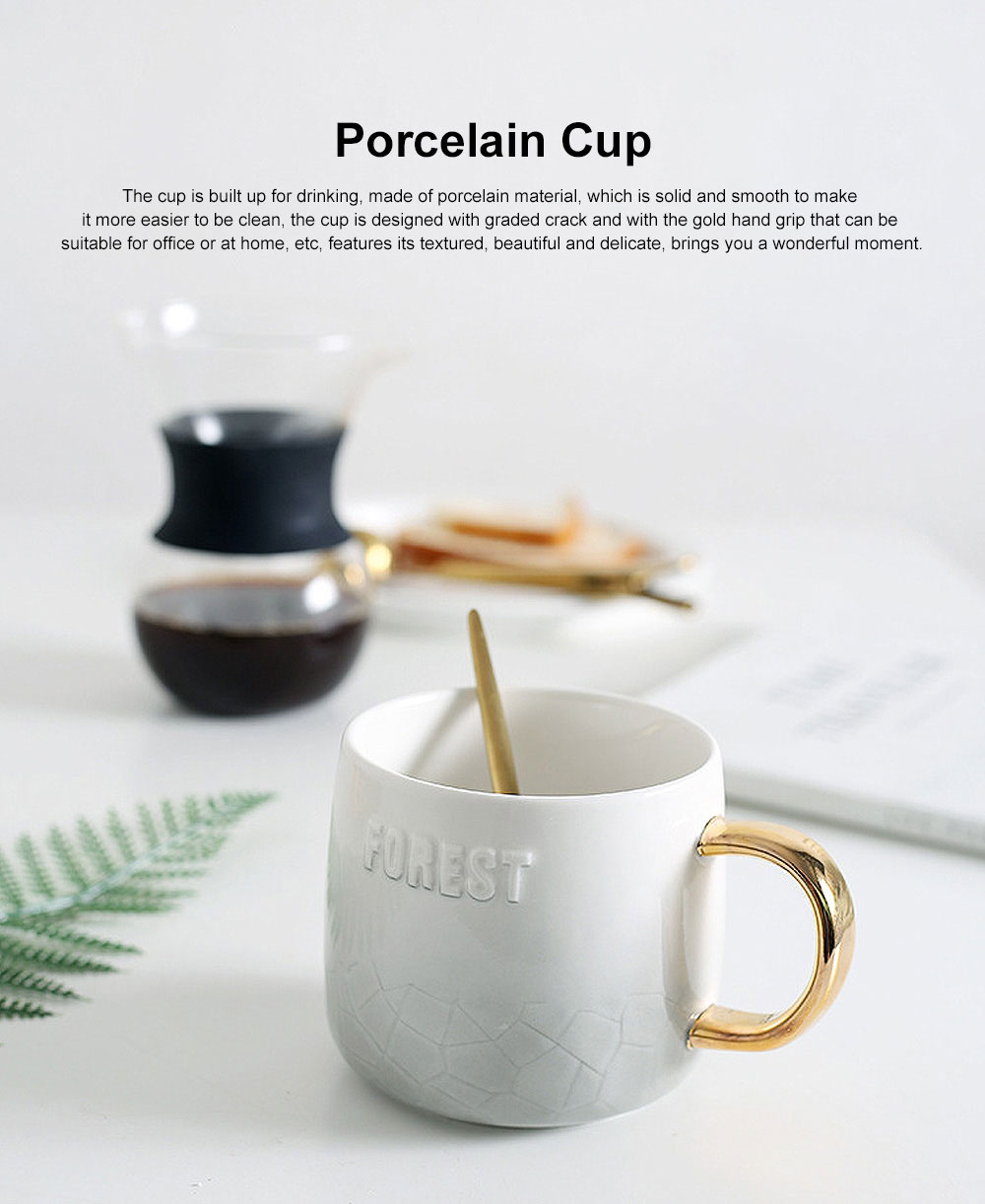 Porcelain Cup with Golden Spoon, Graded Crack Textured Mug for Office Home 0